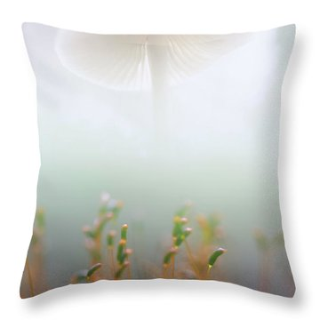 Throw Pillow featuring the photograph Mushroom Dreams, Mycena Galericulata by Dirk Ercken