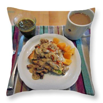 Mushroom Gravy Over Breakfast Quiche  Throw Pillow by Jana Russon
