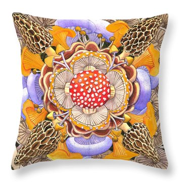 Mushroom Mandala Throw Pillow