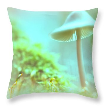 Throw Pillow featuring the photograph Mushroom Misty Dreams, Mycena Galericulata by Dirk Ercken