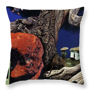 Throw Pillow featuring the painting Mushroom People - Collage by Linda Apple