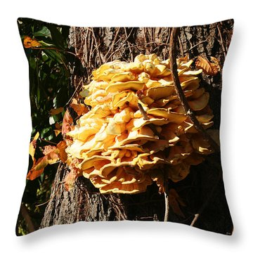 Throw Pillow featuring the photograph Mushroom Shelves by William Selander