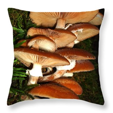 Throw Pillow featuring the photograph Mushrooms 015 by George Bostian
