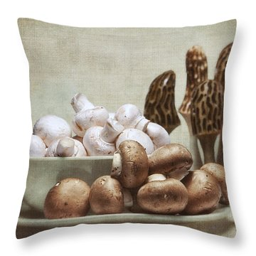 Mushrooms And Carvings Throw Pillow by Tom Mc Nemar