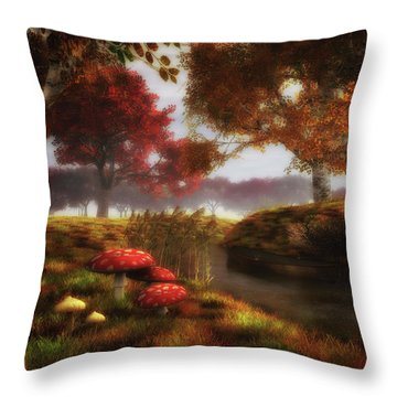 Mushrooms And River Throw Pillow