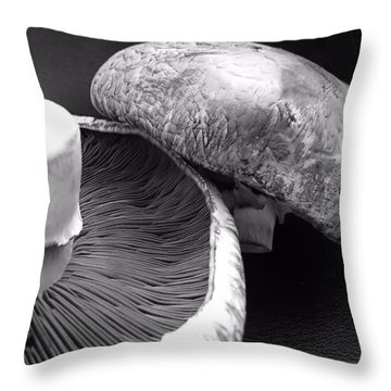 Mushrooms In Black And White Throw Pillow