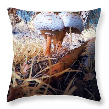 Throw Pillow featuring the photograph Mushrooms In The Grass by Chriss Pagani