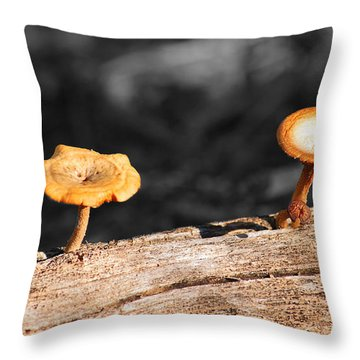 Mushrooms On A Branch Throw Pillow by Donna Greene