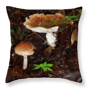 Mushrooms Rising Throw Pillow