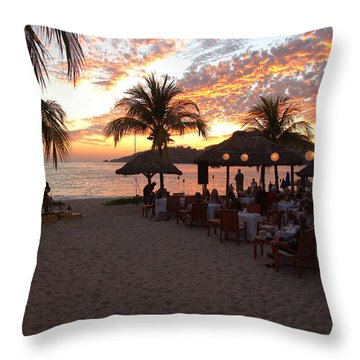Music And Dining On The Beach Throw Pillow by Jim Walls PhotoArtist