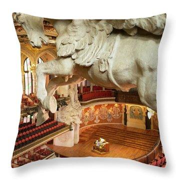 Palau De La Musica Catalana, Barcelona Throw Pillow