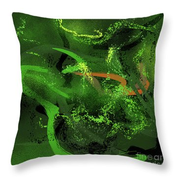 Throw Pillow featuring the painting Music In Green by S G