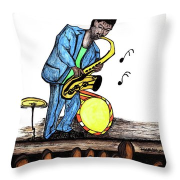 Music Man Cartoon Throw Pillow