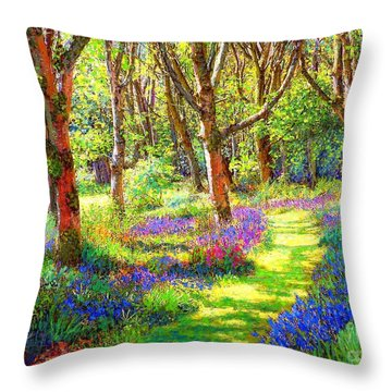 Music Of Light, Bluebell Woods Throw Pillow by Jane Small