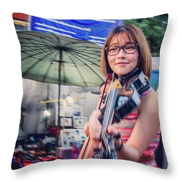Music On The Streets, Chiang Mai Throw Pillow by Aleck Cartwright