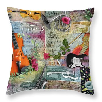 Musical Garden Collage Throw Pillow