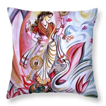Musical Goddess Saraswati - Healing Art Throw Pillow