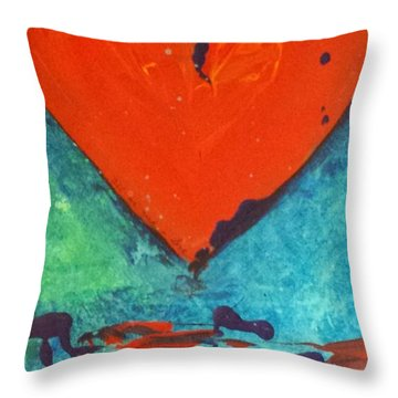 Throw Pillow featuring the painting Musical Heart by Diana Bursztein