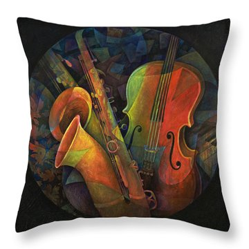 Musical Mandala - Features Cello And Sax's Throw Pillow by Susanne Clark