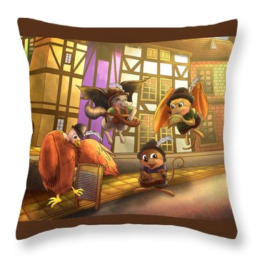Musical Mayhem Throw Pillow