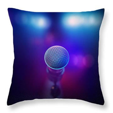Musical Microphone On Stage Throw Pillow