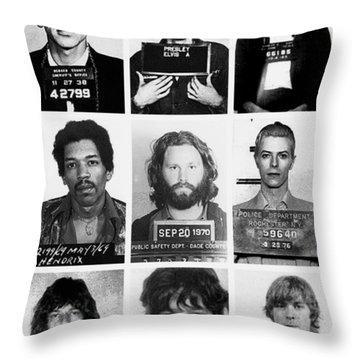 Musical Mug Shots Three Legends Very Large Original Photo 9 Throw Pillow