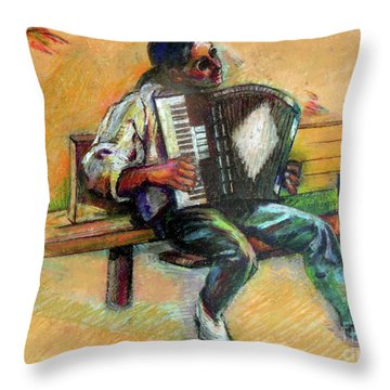 Musician With Accordion Throw Pillow by Stan Esson