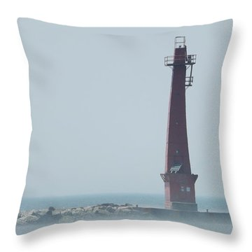 Muskegon South Pierhead Throw Pillow