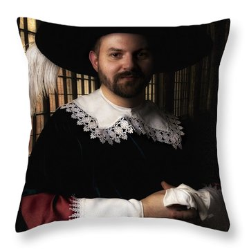 Musketeer In The Old Castle Hall Throw Pillow