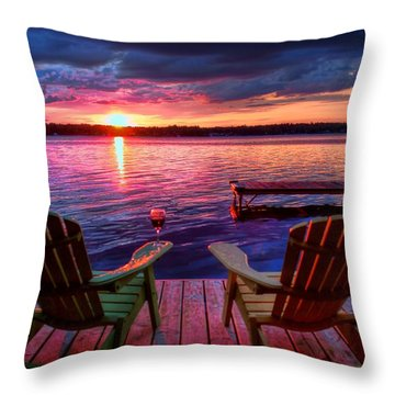 Throw Pillow featuring the photograph Muskoka Chair Sunset by Michaela Preston