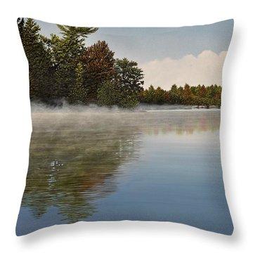 Muskoka Morning Mist Throw Pillow by Kenneth M  Kirsch