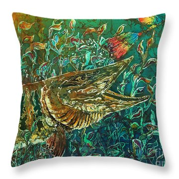 Musky- Chasin Throw Pillow by Sue Duda
