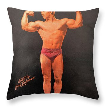 Muscle Power Mag Aug 1947 Throw Pillow