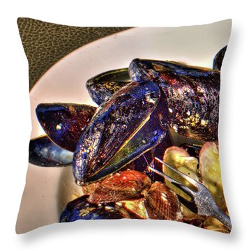 Mussel Beach Throw Pillow
