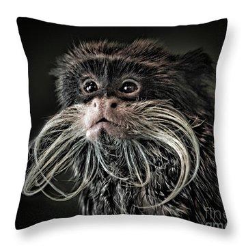 Mustache Monkey IIi Altered Throw Pillow