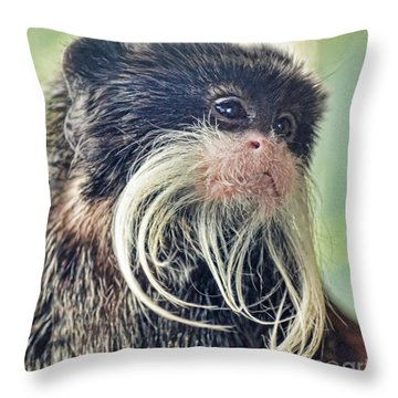 Mustache Monkey Watching His Friends At Play Throw Pillow