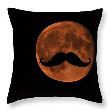 Mustache Moon Throw Pillow