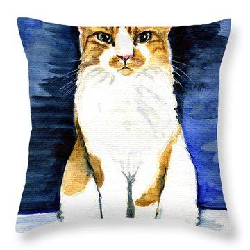 Mustached Bicolor Beauty - Cat Portrait Throw Pillow