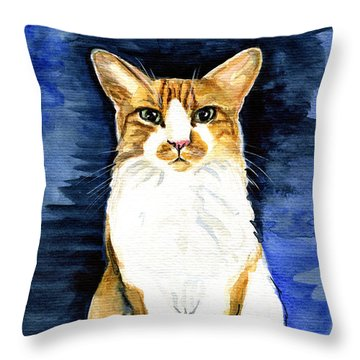 Mustached Bicolor Beauty - Cat Portrait Throw Pillow