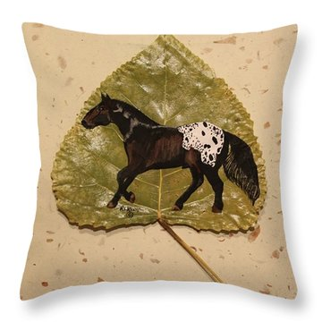 Mustang Appaloosa On Poplar Leaf Throw Pillow