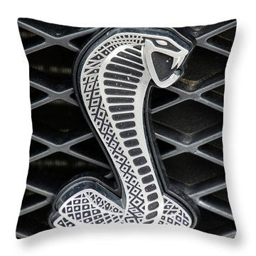 Mustang Cobra Logo Throw Pillow by Betty Denise
