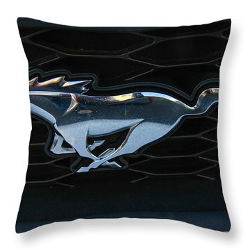 Mustang Grill Throw Pillow by Robert Hebert