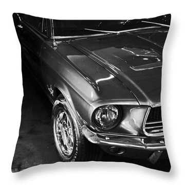 Mustang In Black And White Throw Pillow