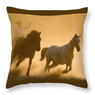 Mustang Roundup Throw Pillow