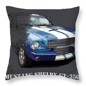 Mustang Shelby Gt-350, Blue And White Classic Car, Gift For Men Throw Pillow
