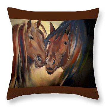 Mustangs Throw Pillow by Marika Evanson