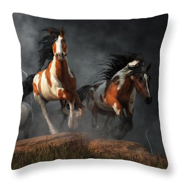 Throw Pillow featuring the digital art Mustangs Of The Storm by Daniel Eskridge
