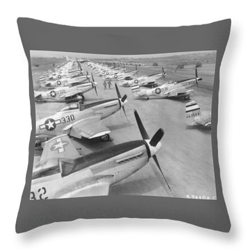 Mustangs On Iwo Jima 1945 Throw Pillow