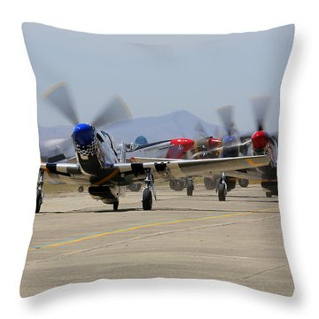 Mustangs Taxi For Takeoff At Hollister Throw Pillow