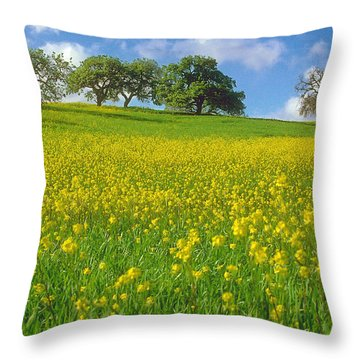 Throw Pillow featuring the photograph Mustard Field by Mark Greenberg